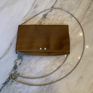 Free People Leather Crossbody W/ Chainmail Strap